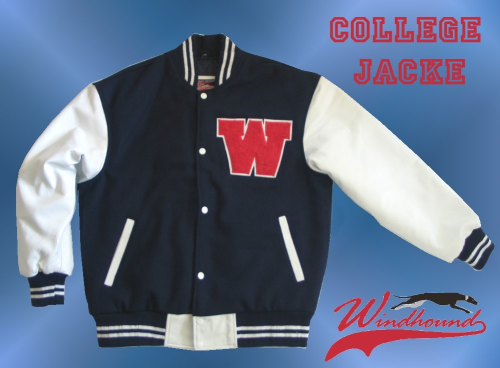 Windhound College Jacke, Echtlederärmel, 24oz Wolle, american Patches, Navyblau