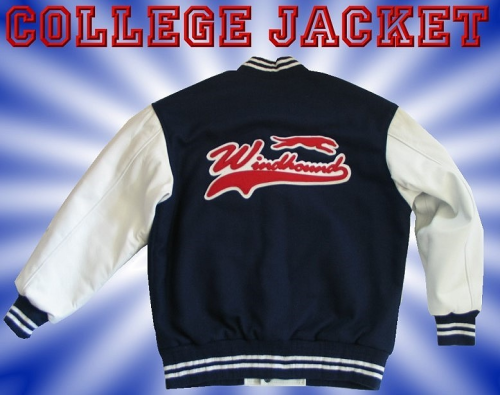 ... Windhound College Jacke, Echtlederärmel, 24oz Wolle, american Patches,  Navyblau ... e07543221a